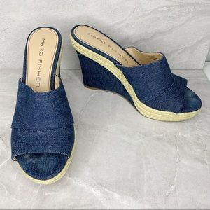 Marc Fisher Turnip2 8M Blue Denim Wedge Sandals